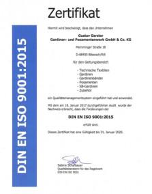DIN EN ISO 9001 2015 Zertifikat