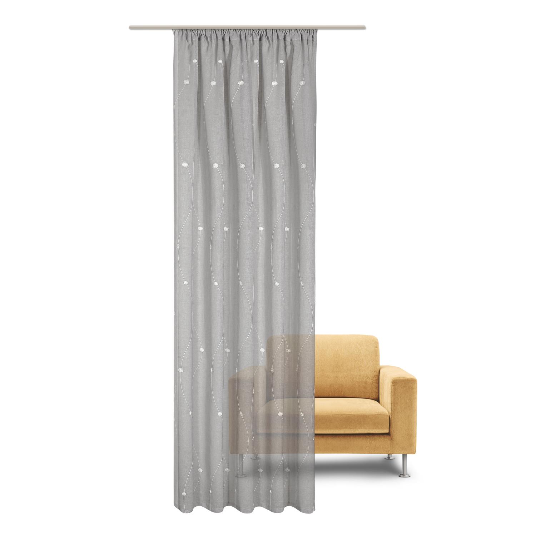gerster schal mit kr uselband und stangendurchzug stickerei kreisranken grau gerster. Black Bedroom Furniture Sets. Home Design Ideas